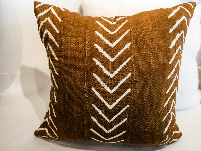 "EN012 Brown Mudcloth Pillow 20"" x 20"""