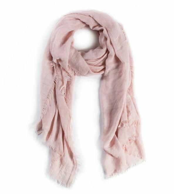 PM227 Pink Gauzy Frayed Scarf