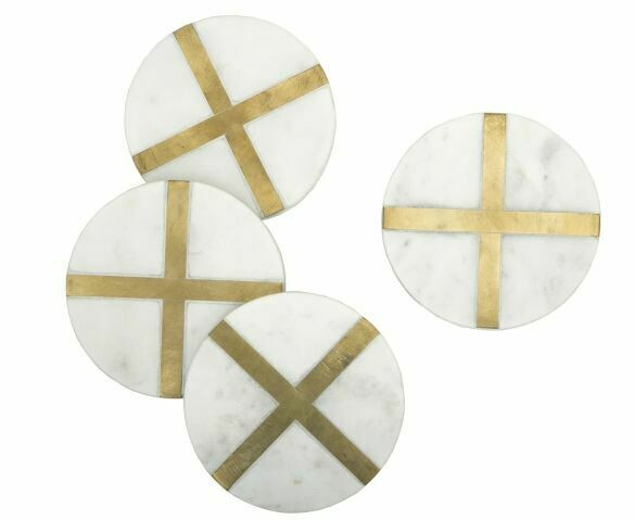 BL125 Glimmer Coasters - White Set/4