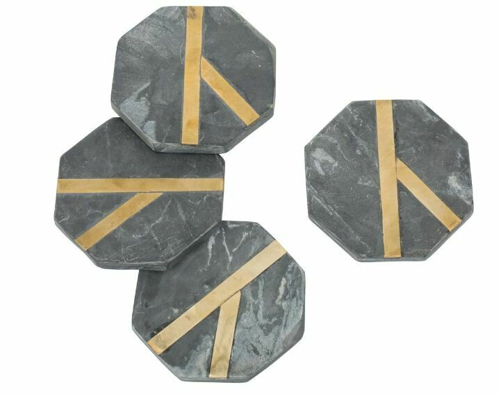 Glimmer Coasters - Black Set/4