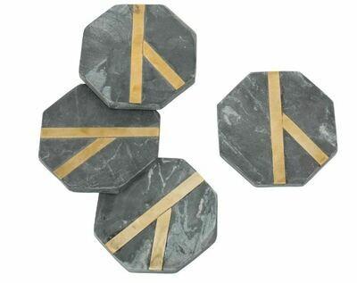 BL126 Glimmer Coasters - Black Set/4