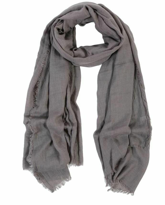 PM254 Lightweight Frayed Scarf - Light Gray