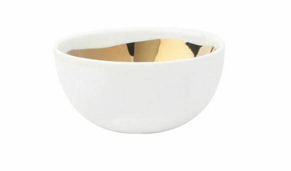 CS312 Large Gold/White Ceramic Bowl