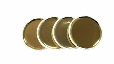 Gold + White Porcelain Coasters S/4