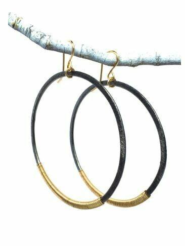 CD007 Gunmetal Wrap Hoop Earrings