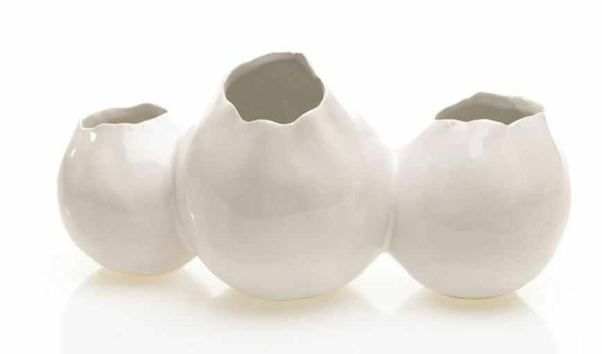 Triple White Pod Vase
