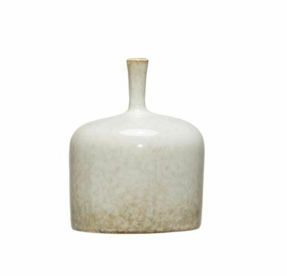 "CC173 Stoneware Vase 5"" x 6"" Reactive Glaze - White"