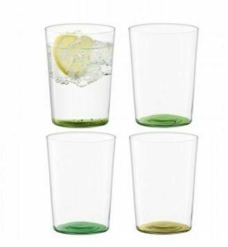 LS016 Scandi Thin Glass Tumblers - Large Set/4 - Greens