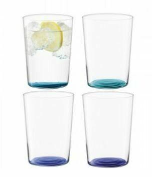 Scandi Thin Glass Tumblers - Large Set/4 - Blues