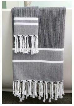 SL014 Fouta Towel Black + White Stripes Chevron