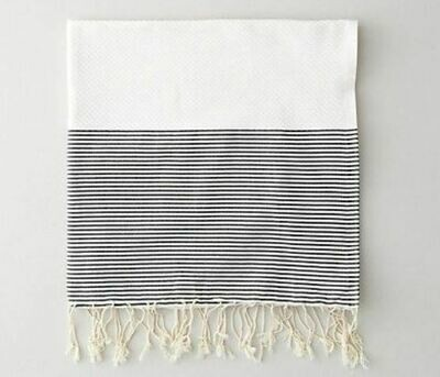SL005 Guest Towel Banded Thin Stripes - White + Black