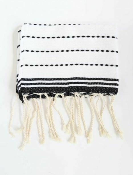 SL144 Guest Towel Stitched White + Black