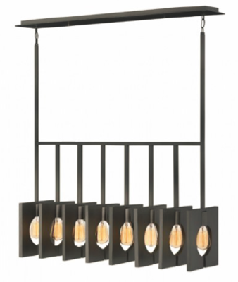 Ludlow Steel 8 Light Linear Chandelier