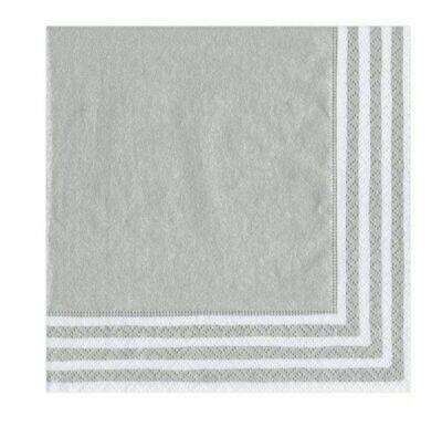 CR009 Border Stripe - Silver Cocktail Napkin (20 per package)