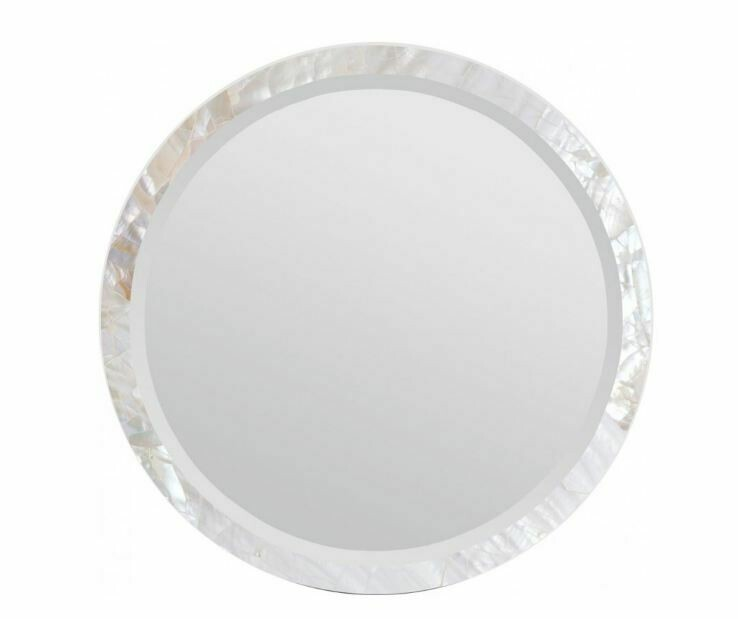 "Round White Shell Mirror 28"""