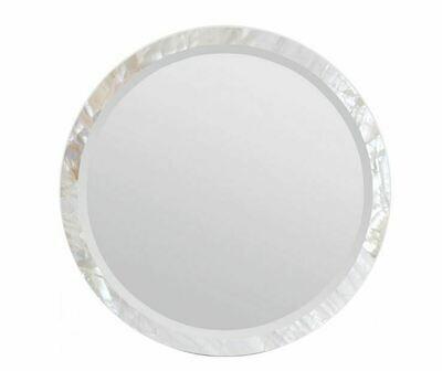 Round White Shell Mirror 28