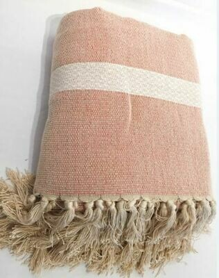 SL053 Linen Throw - Cream + Orange