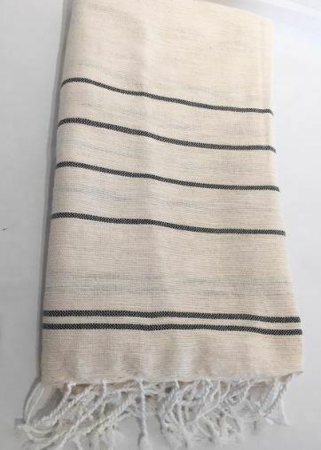 SL155  Linen + Cotton Throw Fine Stripes Off-White Pewter stripe