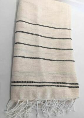 SL155  Linen + Cotton Throw Fine Stripes Off-White Pewter stripe