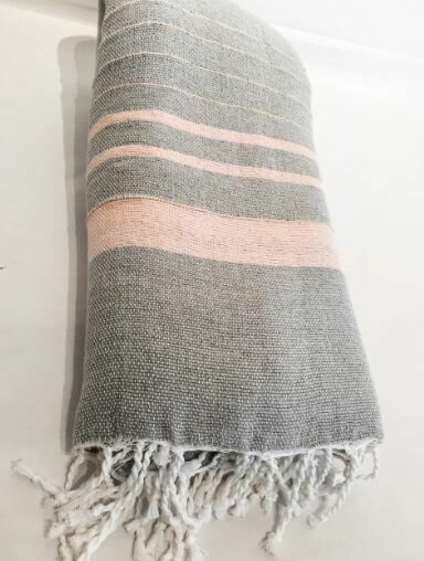 Linen Remo Throw - Grey + Pink