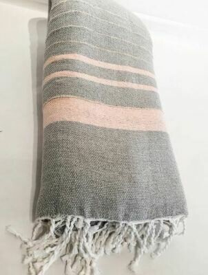 SL054 Linen Remo Throw - Grey/Pink