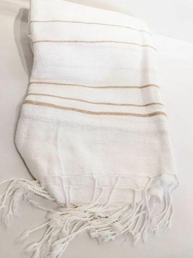 SL057 Cotton Linen Throw White + Tan Stripes