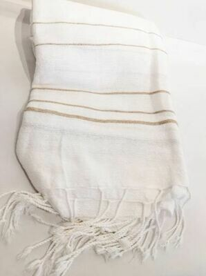 SL057 Cotton Linen Throw White + Tan Stripes