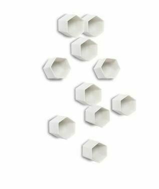 White Hexagon Wall Decor-Set of 20