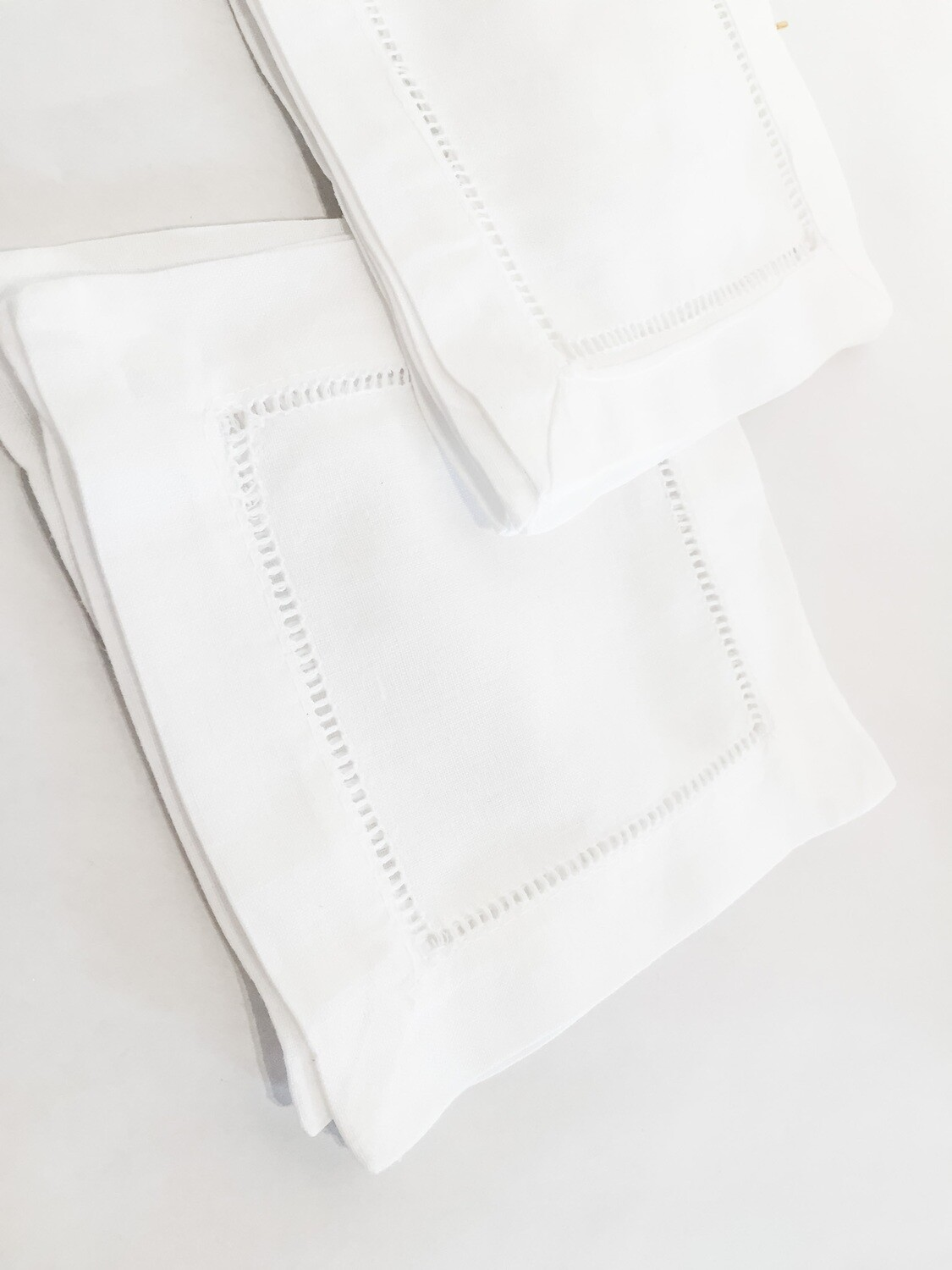 "SO037 Hemstitched Napkins - White 6"" Set/4"