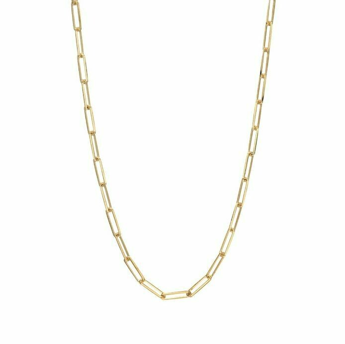 TD464 Gold Oblong Vermeil Necklace - 18""