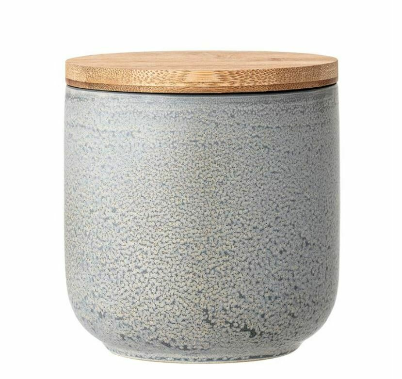 """BV146 Stoneware Canister w/Bamboo Lid Grey Matte Reactive Glaze 5"""""""
