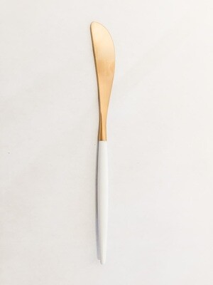 CO034 Brushed Gold/White Handle Charcuterie Knife