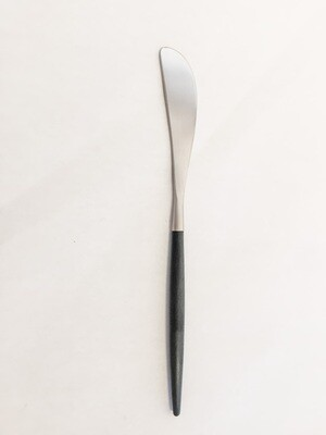 CO032 Brushed Silver/Black Handle Charcuterie Knife