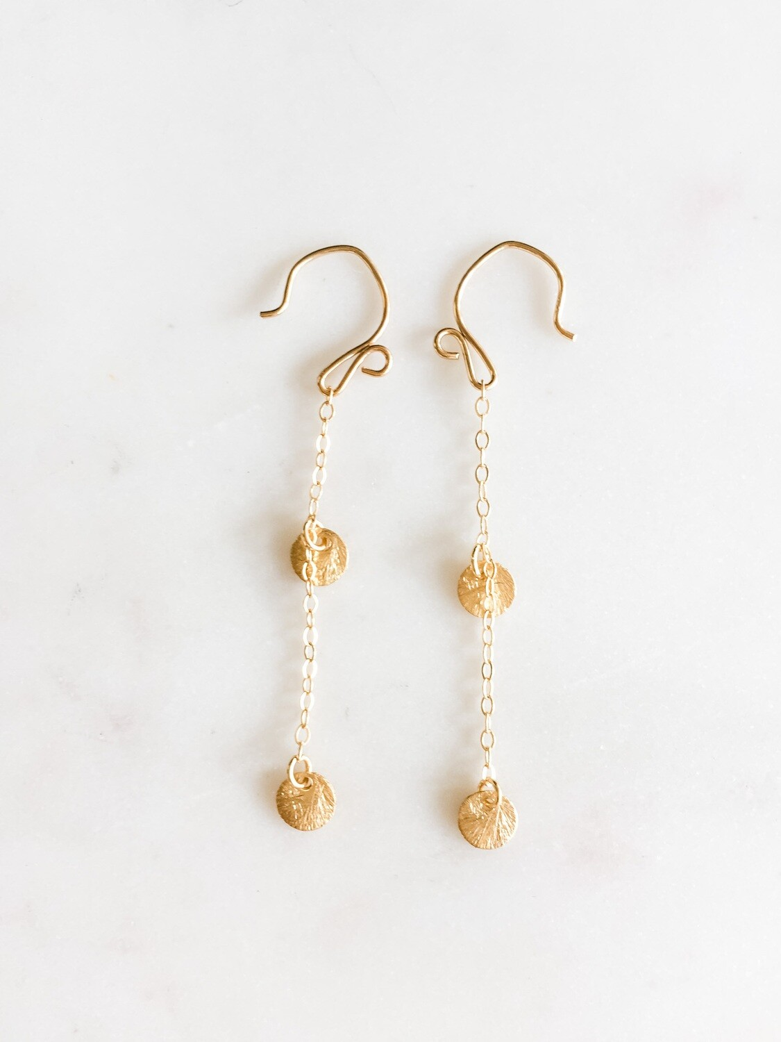 Gold Vermeil Disk Chain Earrings