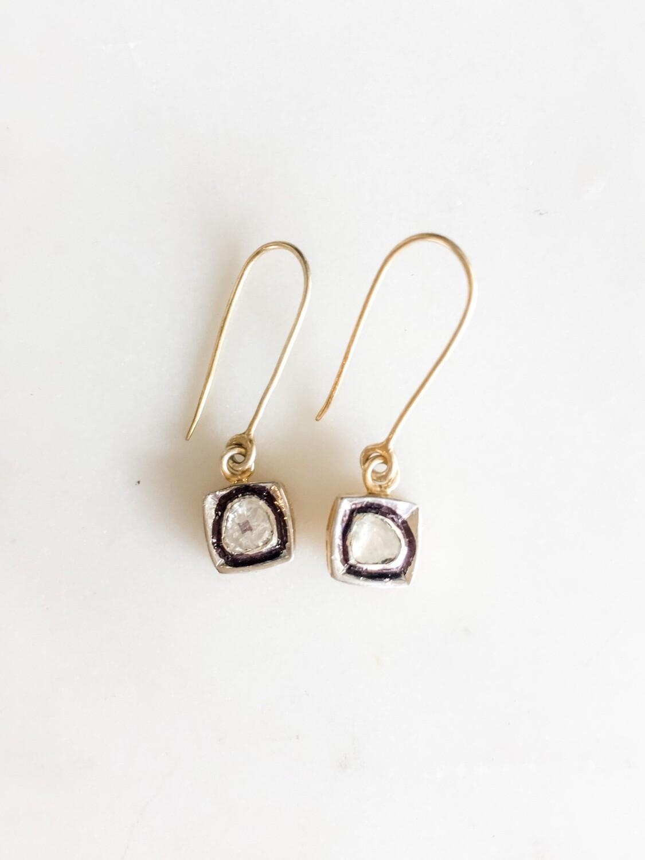 TD492 Square Set Raw Diamond Earrings
