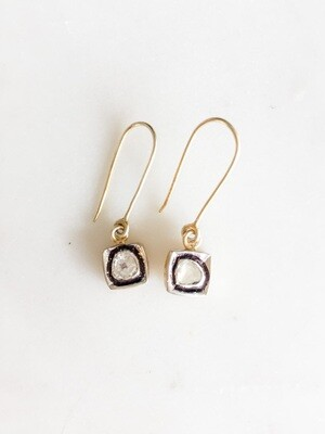 Square Set Raw Diamond Earrings