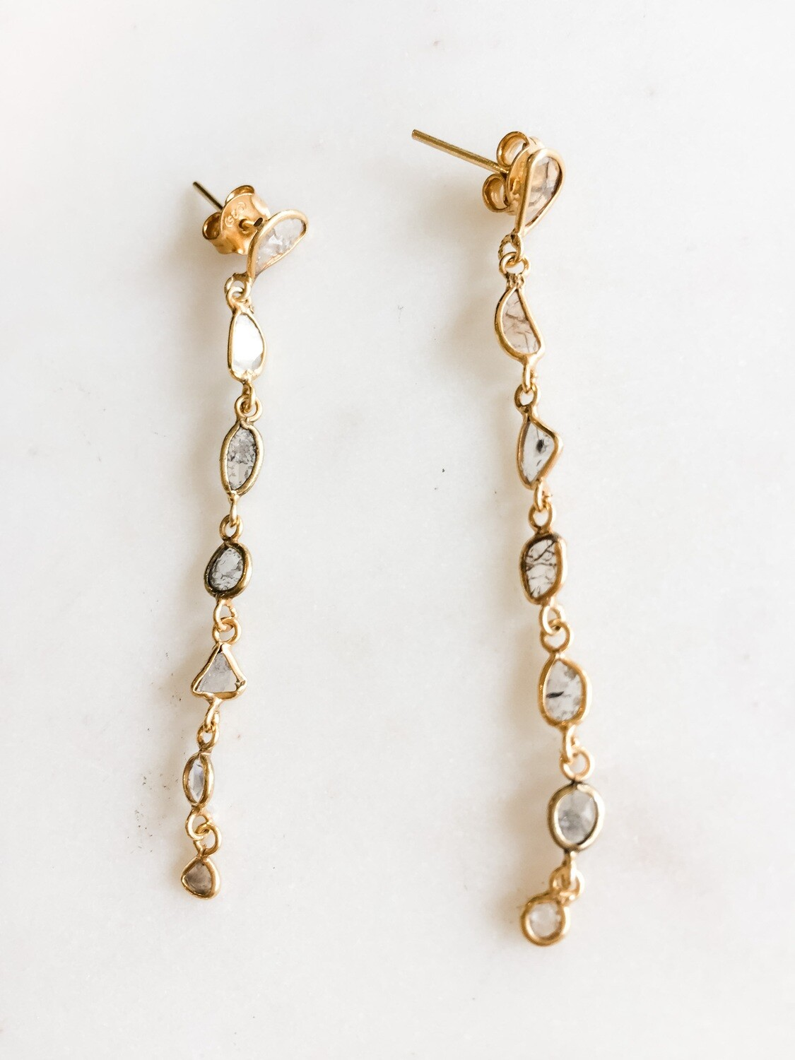 Sliced Diamond Vermeil Earrings