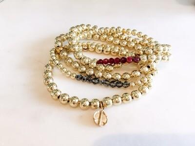 PN089 Set of 5 Gold Ball Bracelets - Peace Charm