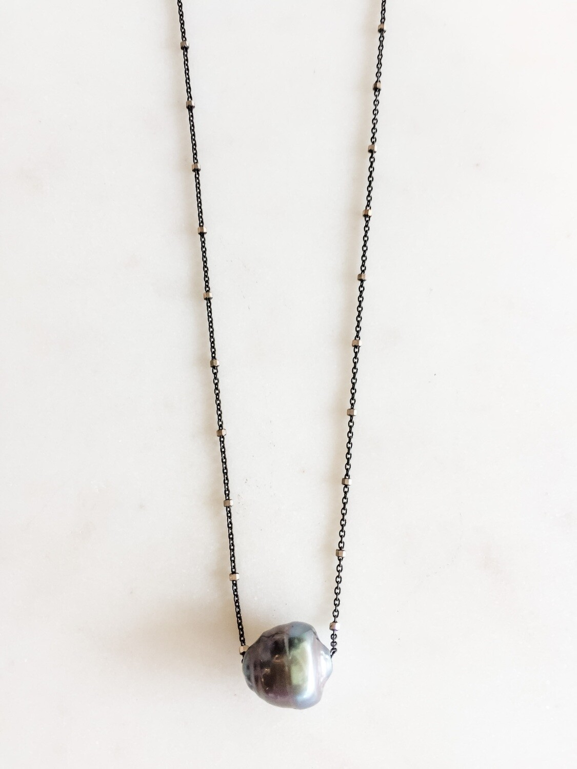 Oxidized Chain Necklace w/Tahitian Pearl - 16""