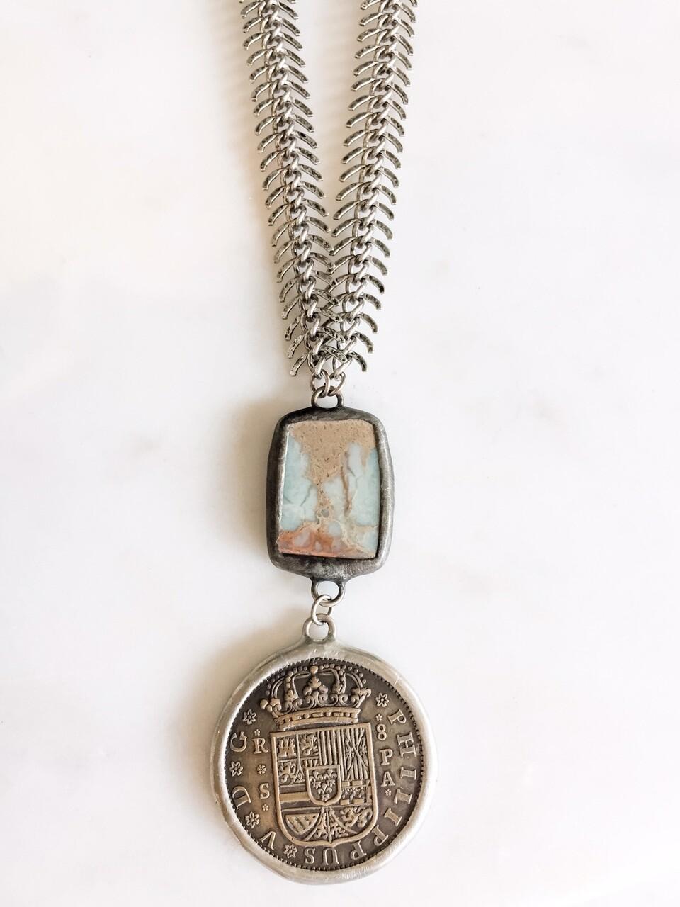 TD392 Coin Pendant w/African Opal On Fish Bone