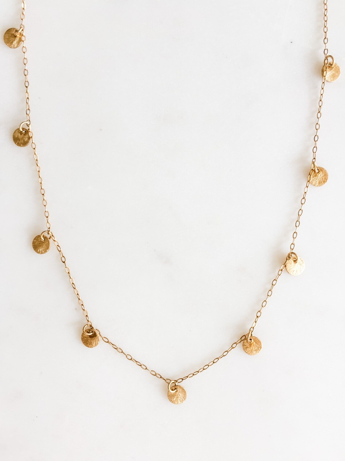 """TD372 Gold Dot Chain Necklace 16"""""""