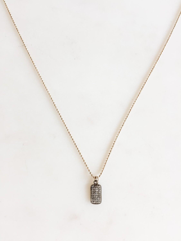 """TD421 Silver Chain Necklace w/Diamond Charm - 18"""""""