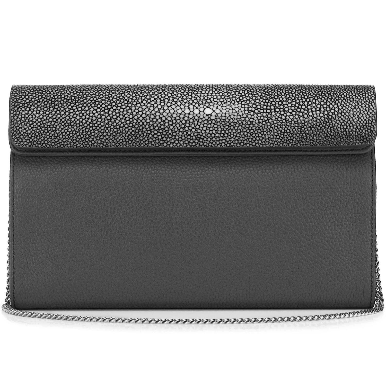 Black Shagreen Leather Clutch, Crossbody
