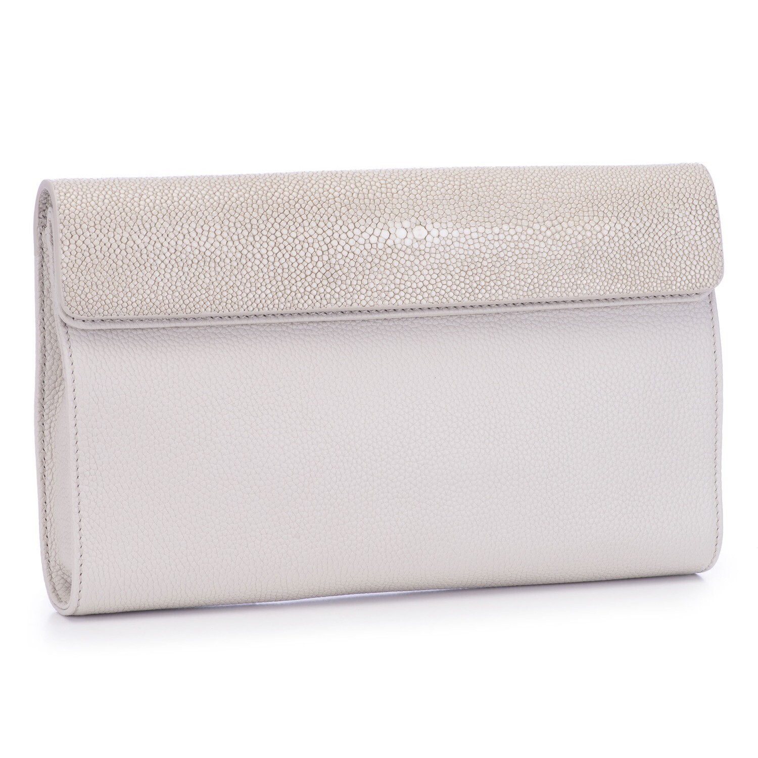 Cream Shagreen and Leather Clutch, Crossbody