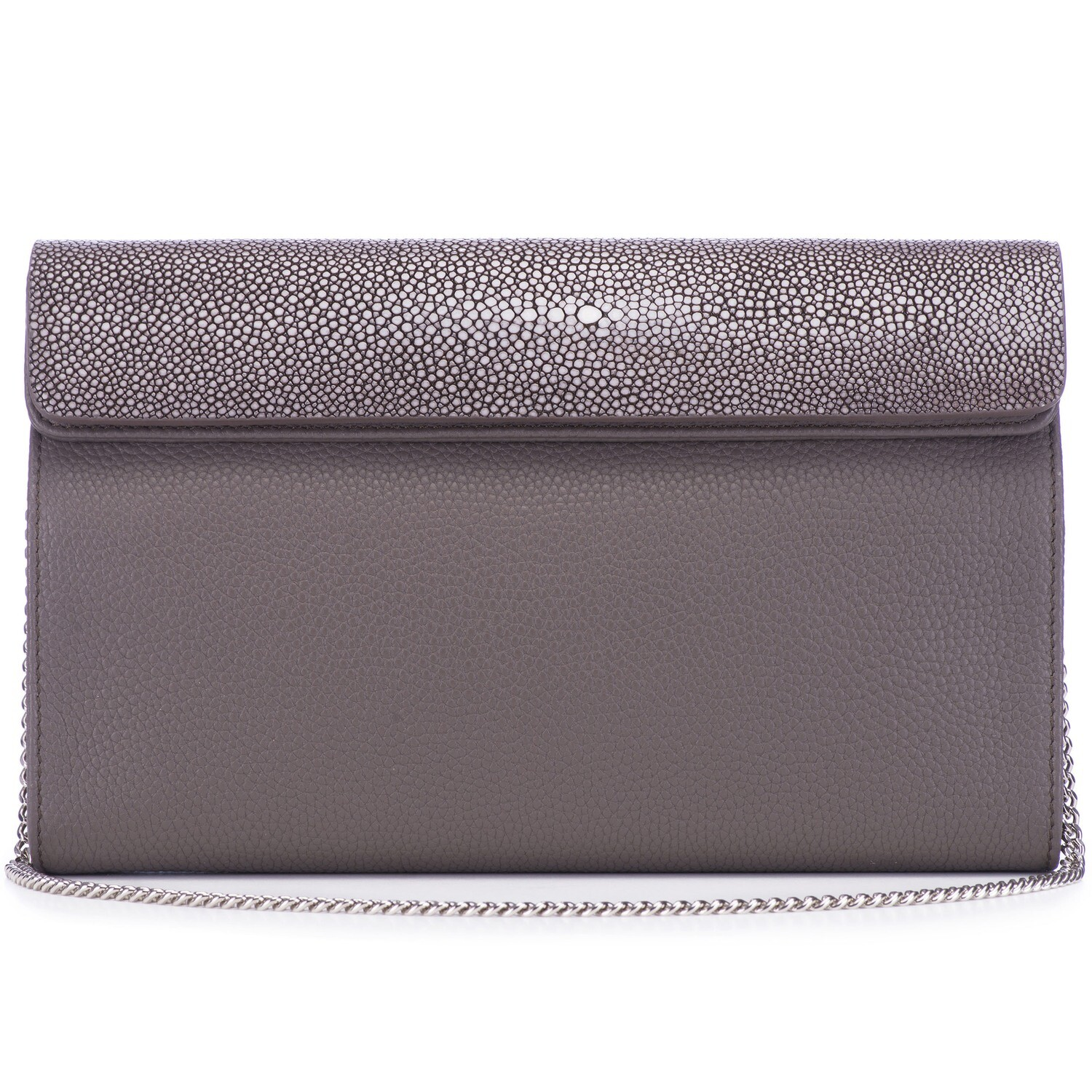 Pewter Shagreen Leather Clutch, Crossbody