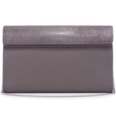 Pewter Shagreen Leather Clutch, Crossbody