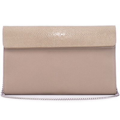 Taupe Shagreen Leather Clutch, Crossbody