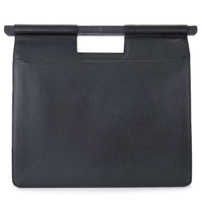 Work Tote in Black Leather with Strap