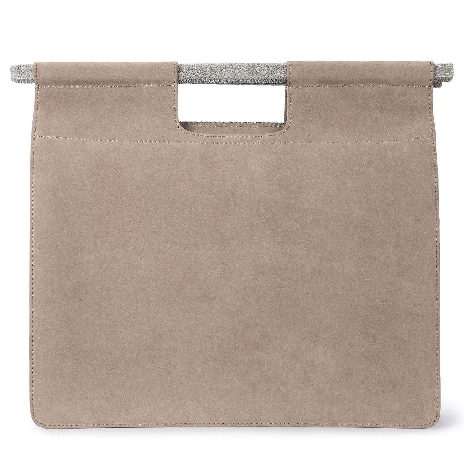Work Tote with Strap, Taupe Nubuck leather