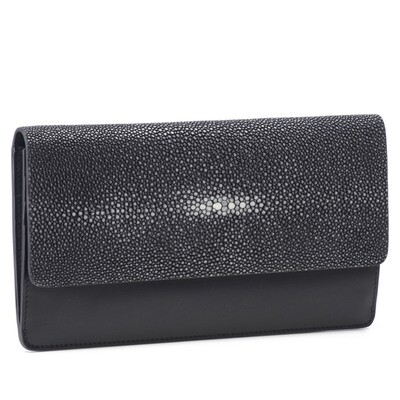 Leather and Shagreen Clutch in Black